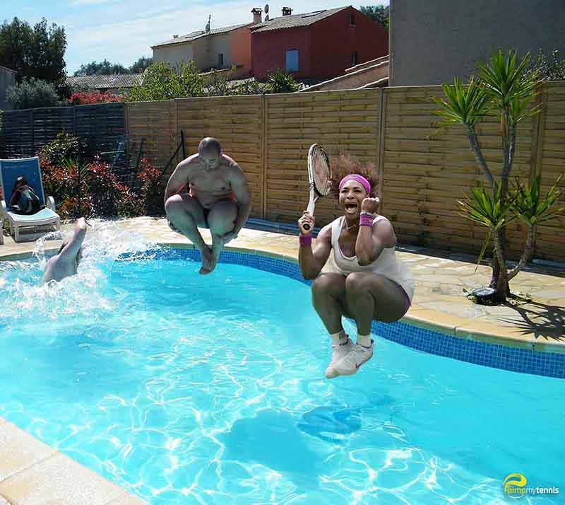 Serena Williams swimming pool funny tennis pimpmytennis