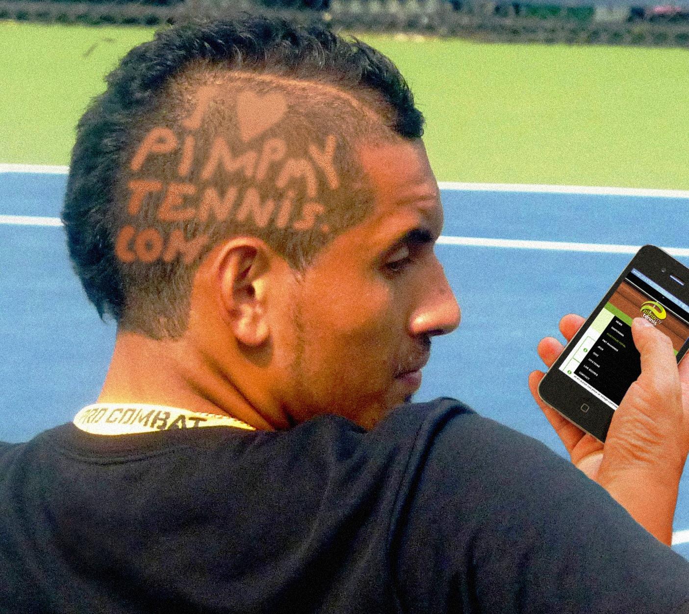 Nick Kyrgios coupe de cheveux spéciale pour pimpmytennis.com