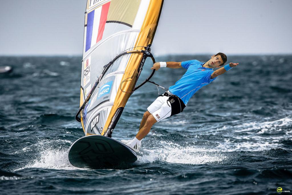 Novak Djokovic in the wind